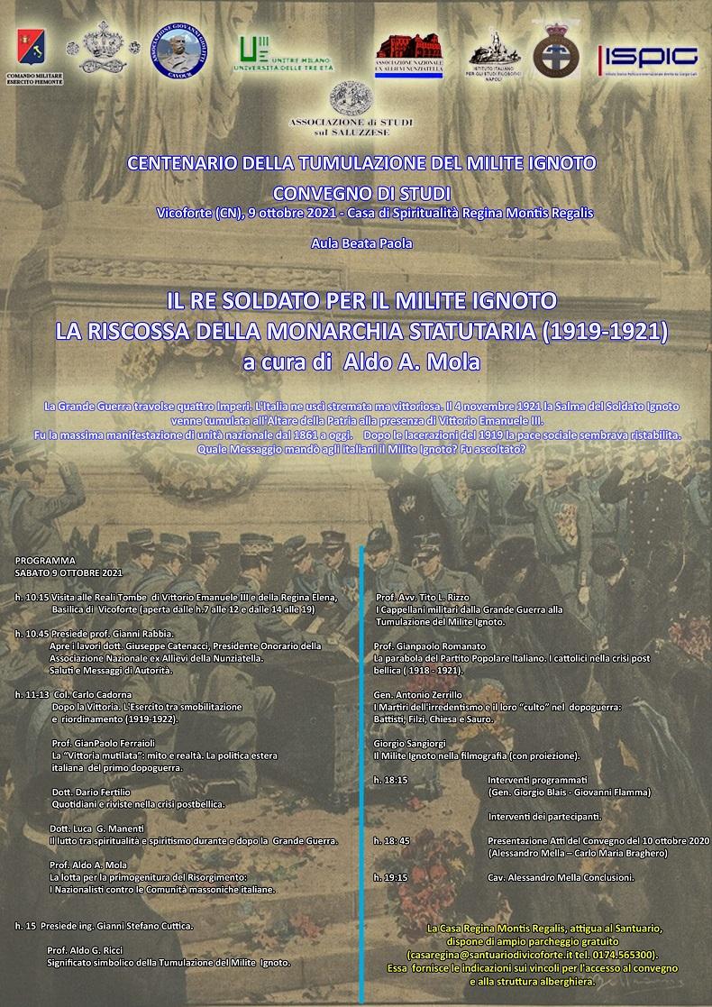 UN CONVEGNO DI STUDI A VICOFORTE (9 OTTOBRE) NEL CENTENARIO DEL MILITE IGNOTO